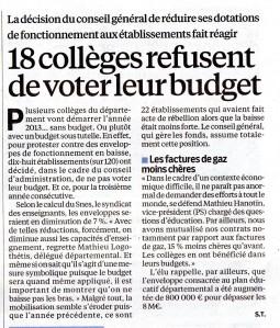 9 janv 18  collèges refusent de voter leur budget