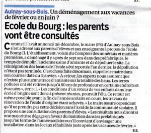 9 janv Ecole du Bourg   Les parents vont être consultés