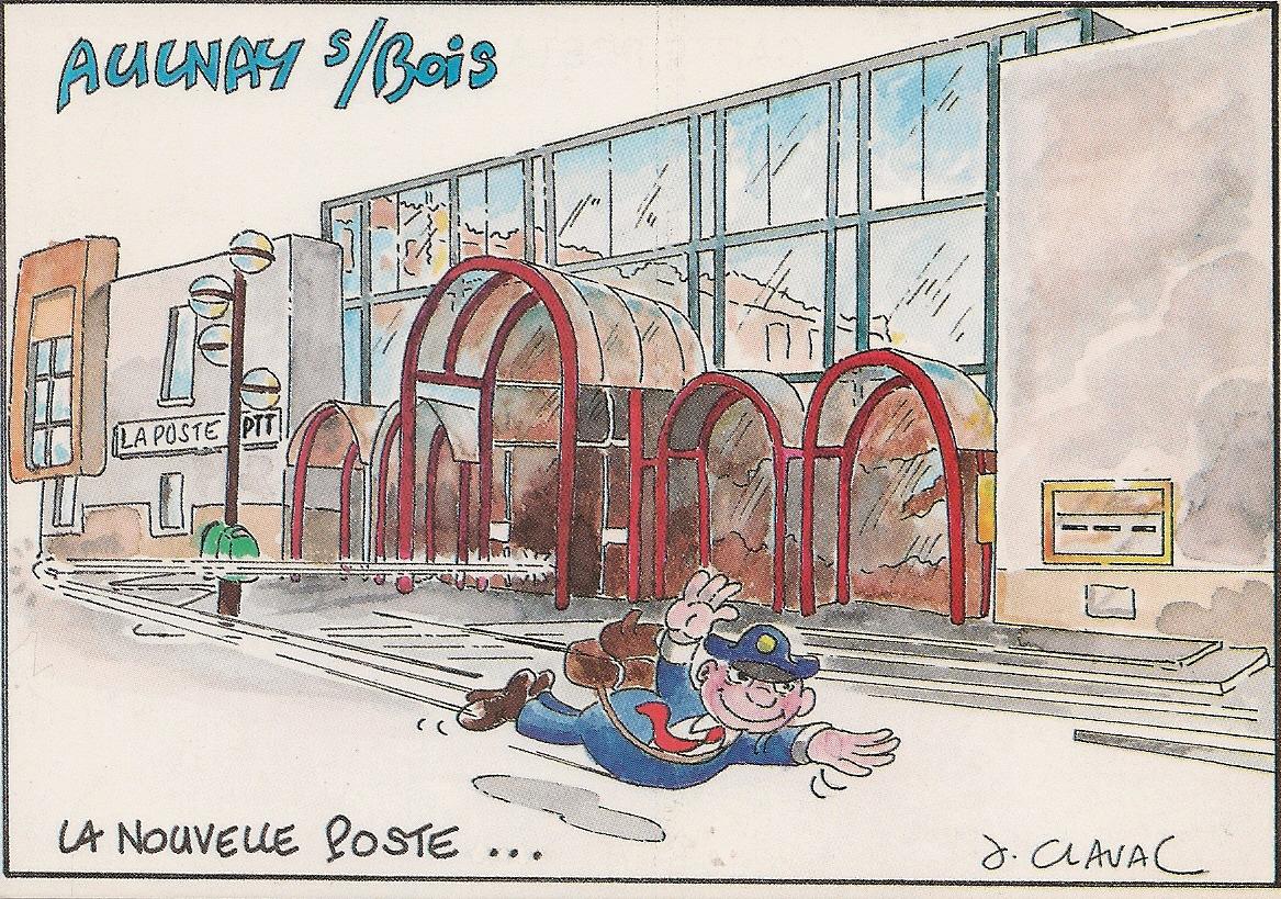 Jean Claval dessine la poste du VieuxPays d'Aulnaysous