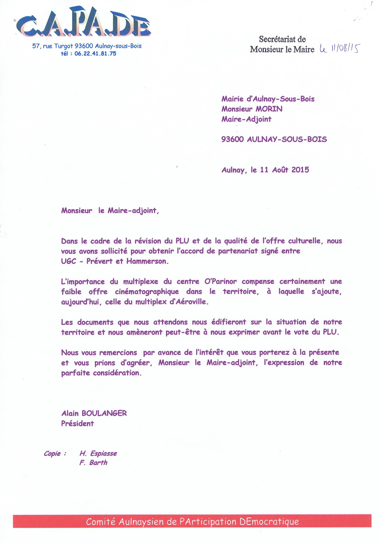 lettre demande de partenariat