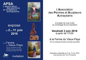 INVITATION VERNISSAGE EXPO DE LA FERME JUIN 2016