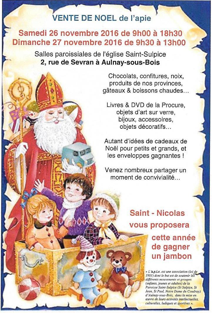 Vente de no l de l apie sur le week end du 26 novembre for Brocante aulnay sous bois