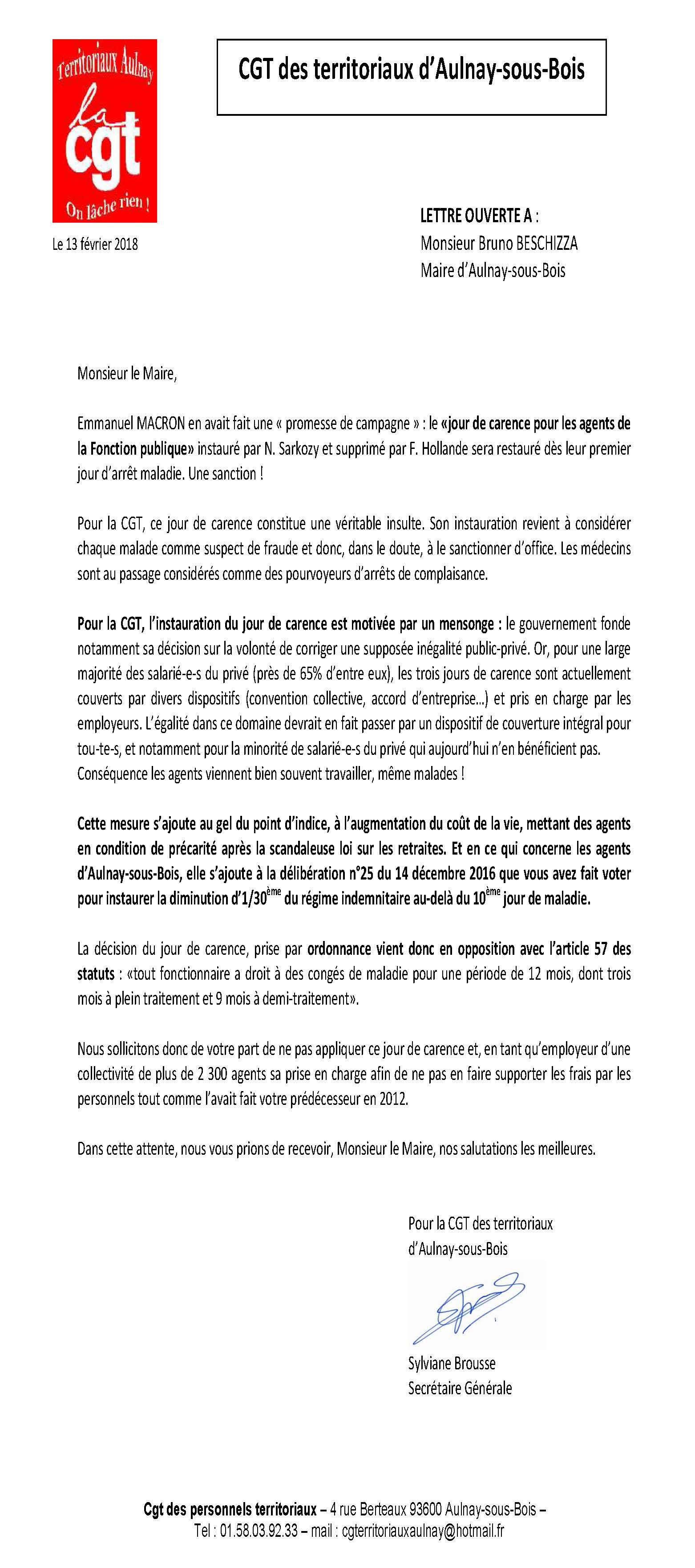 Lettre De La Cgt Au Maire D Aulnay Sous Bois Concernant Le Jour De