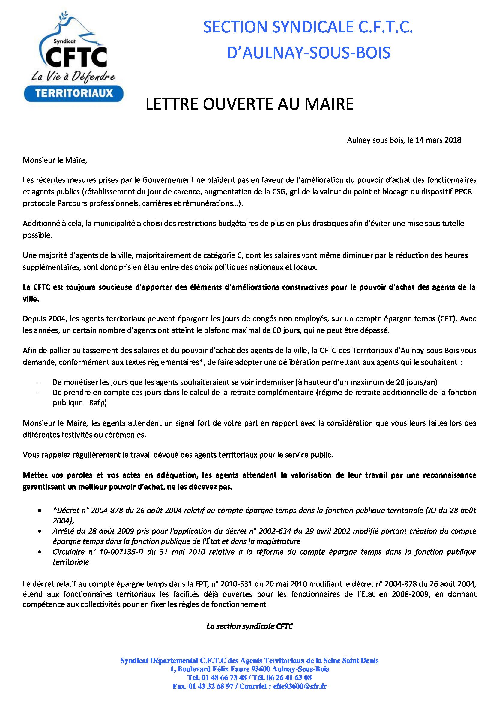 La Cftc Interpelle Le Maire D Aulnay Sous Bois Sur Le Pouvoir D