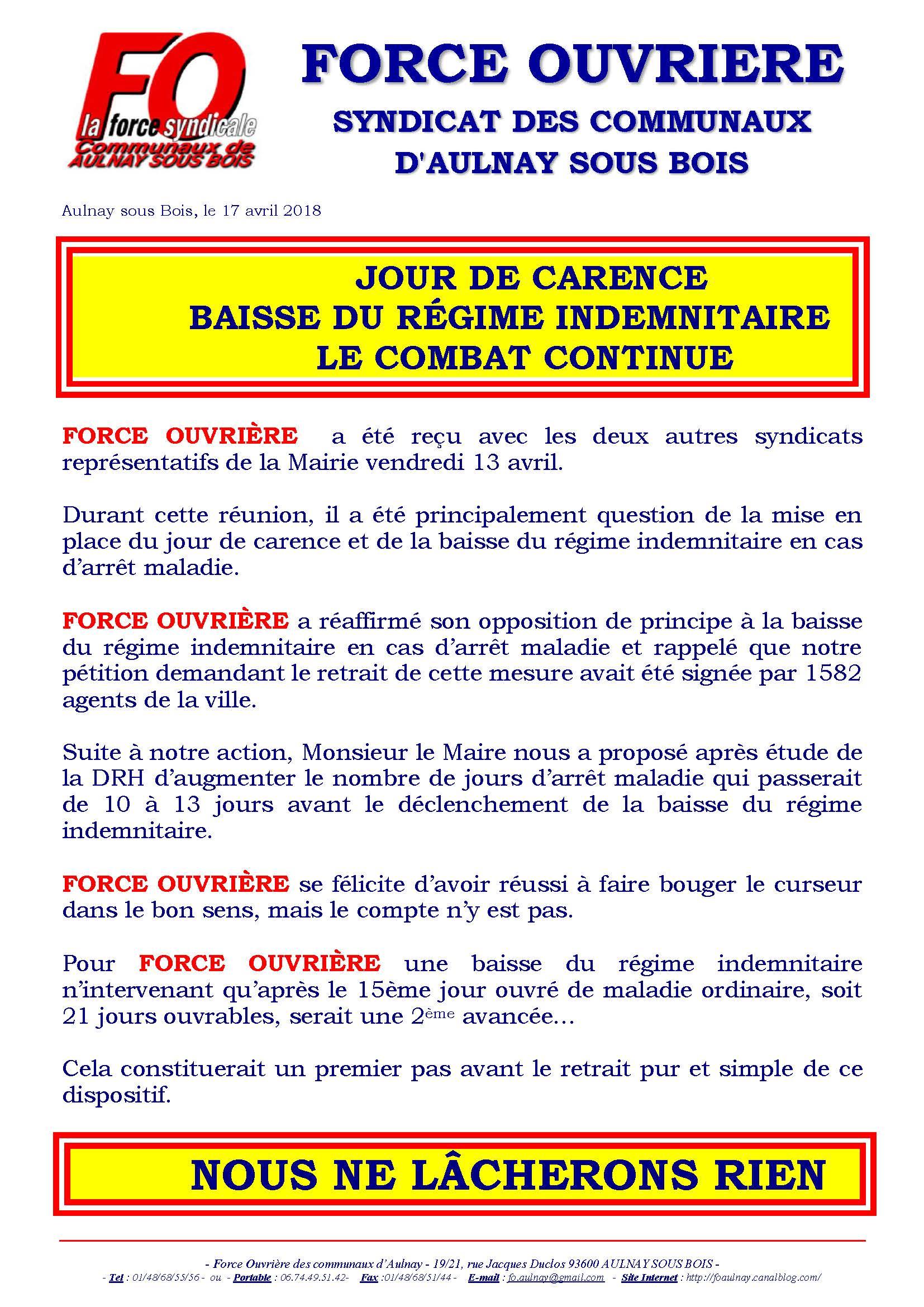 Jour De Carence Baisse Du Regime Indemnitaire Le Combat Continue