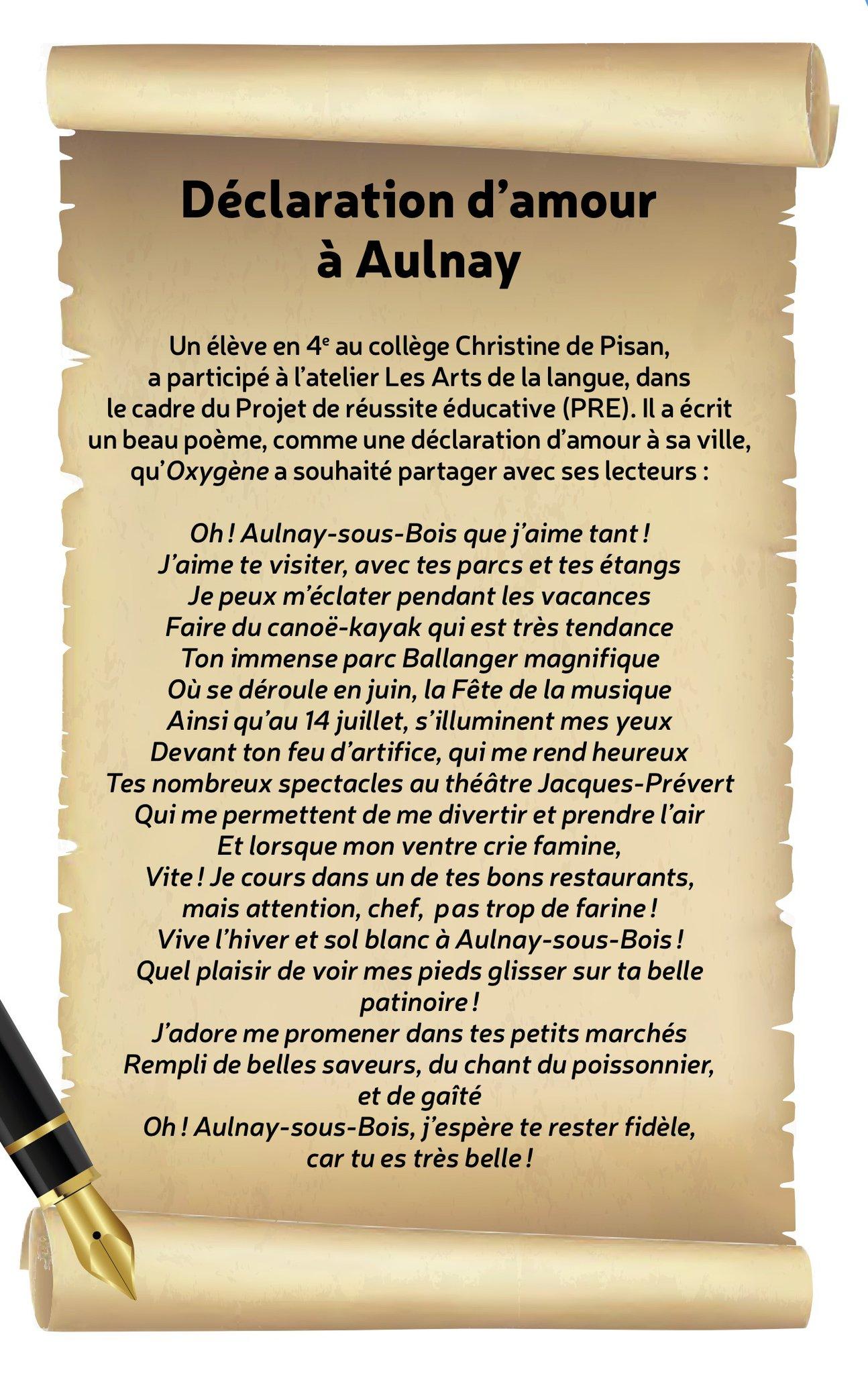Une Déclaration Damour à Aulnay Sous Bois Par Une élève Du